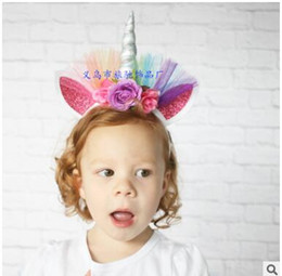 Wholesale Tiaras For Wholesale - Newest Unicorn colours gauze Tiaras for Festival Halloween party Lovely Cat Ears Girls Hair Sticks Kids and adults Hair Bow Headband