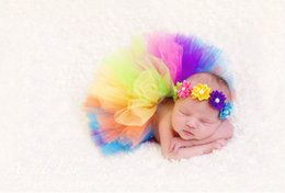 Wholesale Tutu Skirts For Newborns - Photography tutu European and American colorful photographic baby tutu skirt for newborn infant girls hair flower+skirts 0-3mos