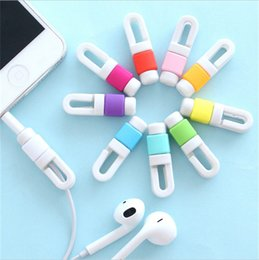 Wholesale Earphone Winder Cable Tidy - Cute silicone iphone cable saver micro USB charging cables savers earphone cable tidy winder holder mini organizer for iphone 6 7 samsung s7