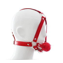 Wholesale Adult Women Sex Strapon - Full Face Leather Ball Mouth gag Wearing open mouth plug sextoys adults for women tongue sex toy bdsm bondage strapon erotic toy