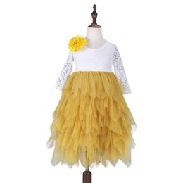 Wholesale Colors Gowns - 2017 baby princess dress girls lace TuTu dress cotton long sleeves Flowers dresses Kids Clothing 6 colors C2846