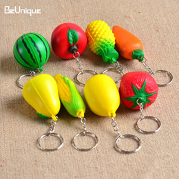 Wholesale Soft Toy Fruits - 2017 Wholesale Soft PU Foam Ball Shape keychain squishy toys charmTropical Fruit keyring Mobile Chain Hanging Ornament pendant Wholesale