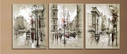 Wholesale Painted City - Modern Home Decor Abstract Canvas Painting Retro City Street Landscape Pictures Decorative Paintings 3 Panel Wall Art No Framed