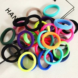 Wholesale Ponytail Hair Rope - New 50pcs Girl Colorful Elastic Headband Ties Band Ponytail Holder Elastic Fluorescence Hair Bands Rope Fashion Hair Accessories