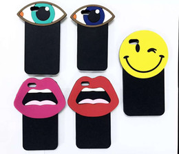 Wholesale Iphone5 Cute - Fashion Cute 3D Sexy Big Mouth Lips Smile Face Mystery Eyes Shape soft silicone Case for iphone5 5S SE iphone6 6S i6 plus for couples's gift