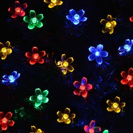 Wholesale Decorative Solar Tree Lights - 2016 newest Solar Power Fairy String Lights 7M 50 LED Leder TEK Peach Blossom Decorative Garden Lawn Patio Christmas Trees Wedding Party