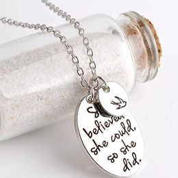 """Wholesale Initial Stamp Necklace - Hand stamped """"she believed she could so she did"""" Disc Swallow Charms Pendant Necklace For Women Best Friends Inspirational Jewelry"""
