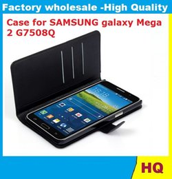 Wholesale Galaxy Mega Wallet Case - Leather Case for SAMSUNG galaxy Mega 2 G7508Q holster Wallet Cases Folio Book Cover with Kickstand Credit Card Holder, Cash Clip 150X DHL