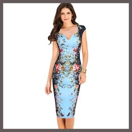 Wholesale Office Pink Short Dress - Hot Women's Clothing Chic Elegant Floral Butterfly Print Short Sleeve Casual Prom Party Dresses Office Pencil Bodycon Dress plus size S-3XL