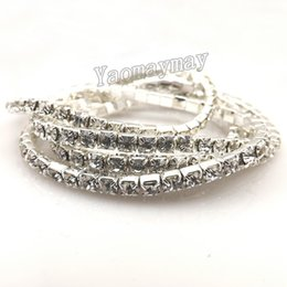 Wholesale Transparent Bangle - Fashion stretch crystal bangles for wedding cheap transparent rhinestone bangle free shipping 48pcs Lot