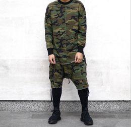 Roupas de camuflagem swag on-line-HipHop justin Bieber Roupas Street Wear Kpop Urban Roupas Homens Manga Comprida Longline camiseta Swag Roupas Camuflagem