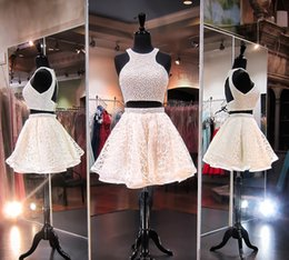Wholesale Sexy Cream Dresses - 2016 Cream Two Piece Open Back Short Homecoming Dress Jewel Neck Beaded Pearls Mini Prom Graduation Cocktail Party Sweet 16 Dresses