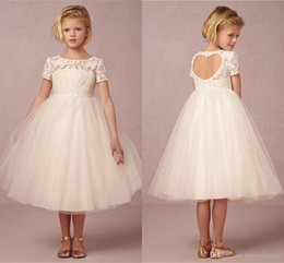 Wholesale Heart Shaped Red Gowns - 2017 Ivory Flower Girl Dresses Tulle Children Wedding Gowns Tea Length Vintage A Line Jewel Cap Sleeves Love Heart Shape Open Back