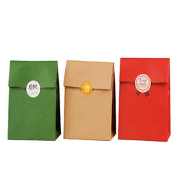 Wholesale Sandwich Wraps - 10pcs Paper Bags Gift Bags Food toaster Sandwich Bread Pocket Wedding Christmas supplies Wrapping Gift takeout Bags with sticker