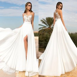 Wholesale Sweetheart White Slit - 2017 Summer Beach High Side Split Wedding Dresses Lace Sheer Neck A-line Sweep Train Chiffon Wedding Gowns Bridal Gowns Custom Made 2016