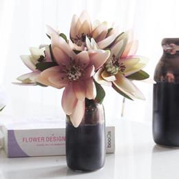 Wholesale silk pink lotus flowers - Artificial Flowers 9.4in 6 Head Silk Snow Lotus Bouquet 4 Color Artificial Saussurea InvolucrataBridal Wedding Bouquet Flowers for Home Pa