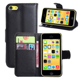 Wholesale Iphone5c Leather - Litchi Pattern Leather Cover wallet card style case For Iphone5C PU Material support holder