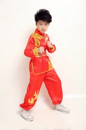 Wholesale Wushu Clothes - UNISEX kids kung fu martial arts performance suits wushu clothes Embroidery dragon tai chi uniforms clothing sets