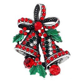 Wholesale American Red Cross Pin - Fashion 2016 Christmas Gifts Pins And Brooches For Women Small Bell Heart Rhinestone Brooch