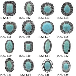 Wholesale Silver Costume Jewelry Sets - High quality turquoise Rings 112 styles vintage Turquoise Natural Stone Rings Fashion Costume Gemstone Female&male Ring Jewelry Free Size