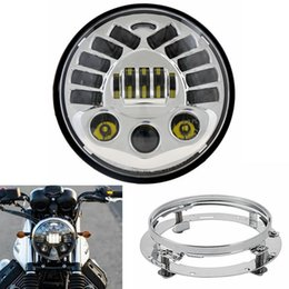 """Wholesale Headlight Projector Lamp - Set 7inch Harley Motorcycle LED Headlight DRL with turning light Parking lamp Projector With 7"""" Mounting Bracket for Harley Moto"""