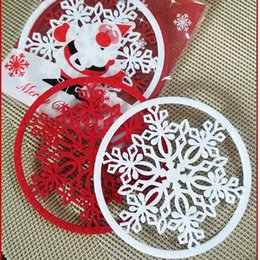 Wholesale Dishes Decor - 100Pcs Merry Christmas Snowflakes Cup Coaster Mat New Year Decorations Dinner Home Party Dish Tray Pad Xmas Table Decor
