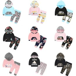 Wholesale Baby Girl 18 Months Winter - INS Christmas Baby Clothes Sets Boys Girls Fashion Floral Flower Printed Hooded Long Sleeve T-Shirt Pants Infant 2PCS Kids Clothing Sets 840
