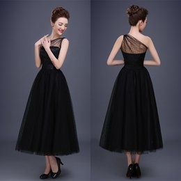 Wholesale One Strap Short Puffy Dresses - 2017 Vintage Black Bridal Evening Dresses One Shoulder Sequined Tea Length Puffy Celebrity Party Gowns Occasion Prom Wears Custom