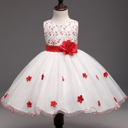Wholesale Casual Wear For Little - Baby Red Flowers Tutu Dress For Wedding Little Princess Children Girl Clothes Kids Formal Party Wear