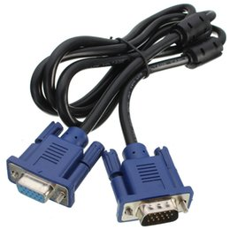 computer pin connectors Coupons - Wholesale- 1.5m HD 15 Pin VGA Cable Male to Female Extension Cable Cord VGA SVGA Video Adapter Connector Computer Cable For PC TV Monitor