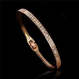 Wholesale Set Gold Plated Clear Crystal - Free Shipping Gold Plated Clear Austrian Crystal Elegant Charming Womens Bangle Bracelet