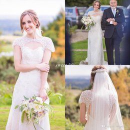 Wholesale Lace Sheath Wedding Dress Luxury - Keyhole Back Sheath Wedding Dresses Luxury Beaded Collar Full Lace Sequin Cap Sleeves Floor Length 2016 Vintage Outdoor Wedding Bridal Gowns