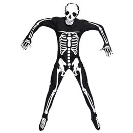 Wholesale Trendy Jumpsuits - 2016 Brand New Men Games Role Play Skull Skeleton Ghost Cosplay Rave Party Halloween Costumes Trendy Jumpsuits Free Shipping