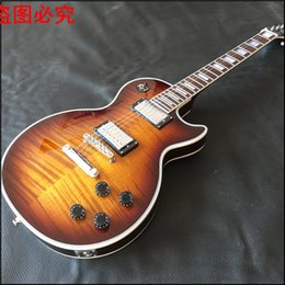 Wholesale Real Flame - 2017 line up custom Tiger Flame Electric guitar,Chrome hardware,Chibson solid mahogany guitar real photos