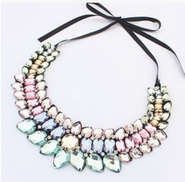 Wholesale Gold Gemstone Jewellery - Korean Fashion Ladies ELegant Sweet Brand Design Silk Ribbon Necklace Bib Choker Jewellery Necklaces Gemstone Pendant Bib Statement Necklace
