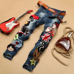 Wholesale Embroidery Jeans Patch - 2016 new novel jeans Patch jeans denim pants famous brand Embroidery beauty men Straight Cotton Denim Jeans Large Size