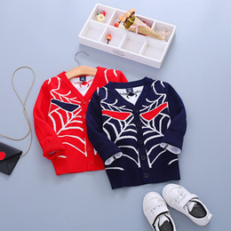 Wholesale Kids Spiderman Sweaters - 5 pieces lot hotsale kids cool spiderman dress autumn sweaters 4-11 years old 100% cotton made 100-140cm five sizes child wear free shipping