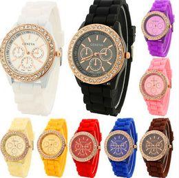 Wholesale Diamond Jelly Candy Silicone - Luxury Brand Geneva Watch Fashion Crystal Diamond Jelly Silicone Watches Unisex Men Women Quartz Candy Watches Christmas Gift Wristwatches