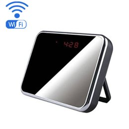 Wholesale Home Security Video Recording - WIFI 1080P Mini Camera Clock Wireless IP Camcorder with 5 MP 140° Veiw Angle Video record Home Security Camera Support phone remote control