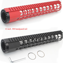 Wholesale Hand Guards Handguard - 12'' inch Black   Red Free Floating Rail Mount Keymod Handguard Ultralight Hand Guard Rail Fit Rifle AR-10   LR-308 Free Shipping