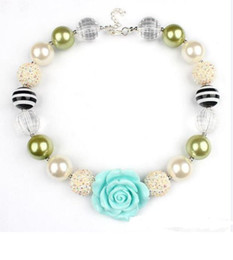 Wholesale Girls Chunky Necklace - 2015 Girls Chunky Bubblegum Beaded Flower Necklace Kids girl Cute Resin princess charms jewelry babies accessories L001