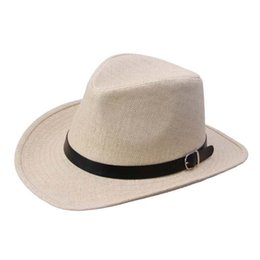 Wholesale Blue Straw Cowboy Hats - Wholesale-Men Straw Fedora cap Trilby Beach sun hat sombrero cowboy Sunhat Bucket Travel handmade band Summer panama hat Men