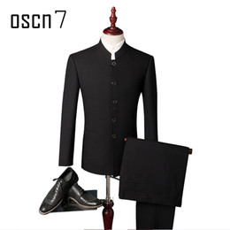 Wholesale Slim Fit Business Suits - Wholesale- OSCN7 Black Chinese Style Suit Men Slim Fit Mandarin Collar Fashion Business Formal Mens Suit Leisure Terno Masculino S-4XL