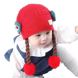 Wholesale Baby Girl Hats Wig - Wholesale Baby Girls Beanies Flower Bowknot Long Braid Wigs pom pom Hats Kids Children Winter Warm Knitted Double-deck Caps Skullcap MZ4082