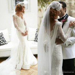 Wholesale Dresses Size Weding - 2017 V-neck long mermaid Sheath Ruffles White modest wedding dresses full lace china 12y long sleeves country open back weding Bridal Gowns