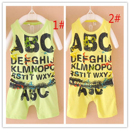 Wholesale Hot Abc - 2016 Haren's suit hot Summer Cotton small boy graffiti ABC cool suit vest a set 4 pcs A022417