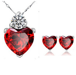 Wholesale Sliver Bridal Jewelry Sets - Fashion New Crystal Jewelry Sets Romantic Sliver Plated Ruby Red Heart Pendant Necklace Earrings Set For Women Bridal Jewelry