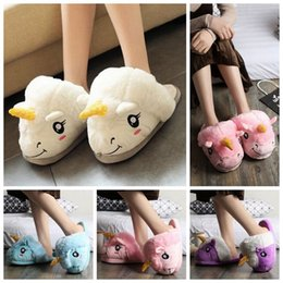 Wholesale Kids Slippers Wholesale - Cute Unicorn Plush Cotton Indoor Slippers Women Kids Cosplay Xmas Gifts Winter Warm Animal Shoes 2pcs pair OOA3148