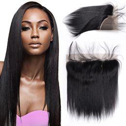Wholesale Virgin Brazilian Hair Online - Brazilian Virgin Human Hair 13x4 Lace Frontal Ear To Ear Closure Straight Natural black Free Part 8-22 Inch 100% natural Cheap hair online