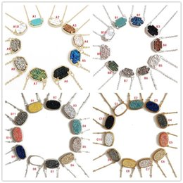 Wholesale Crystal Geometry - Trendy Druzy Drusy Stone Necklace Silver Gold Plated Oval Hexagon Geometry crystal Necklaces Best for Lady Various 10 Colors